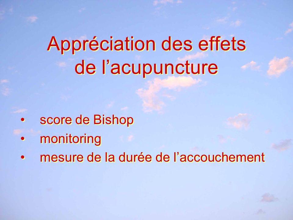 Appréciation des effets de lacupuncture score de Bishop monitoring mesure de la durée de laccouchement score de Bishop monitoring mesure de la durée de laccouchement