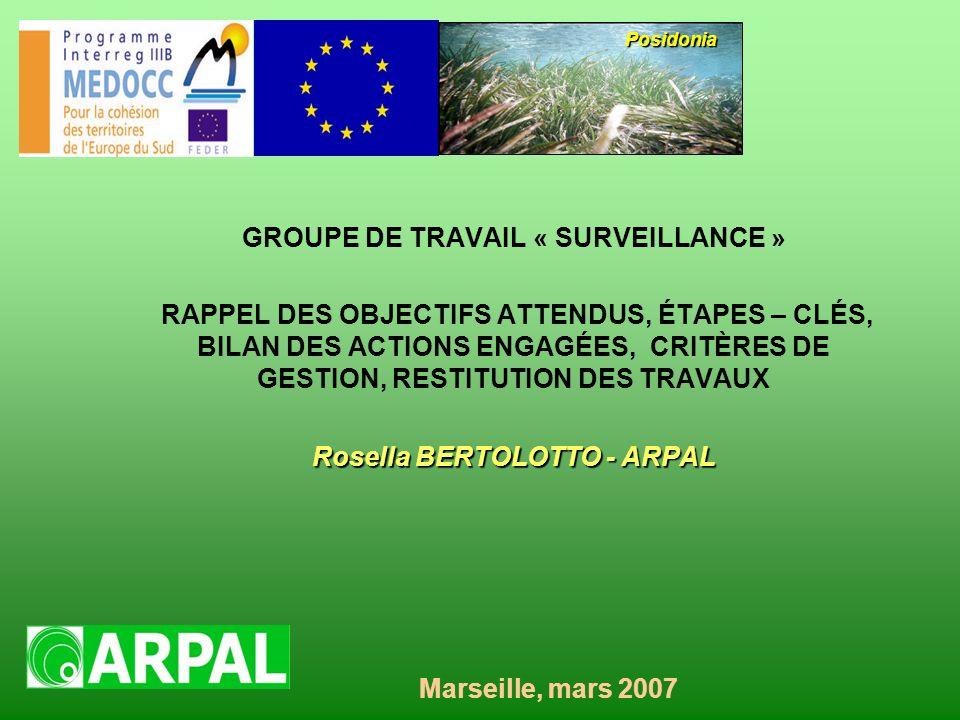 GROUPE DE TRAVAIL « SURVEILLANCE » RAPPEL DES OBJECTIFS ATTENDUS, ÉTAPES – CLÉS, BILAN DES ACTIONS ENGAGÉES, CRITÈRES DE GESTION, RESTITUTION DES TRAVAUX Rosella BERTOLOTTO - ARPAL Posidonia Marseille, mars 2007