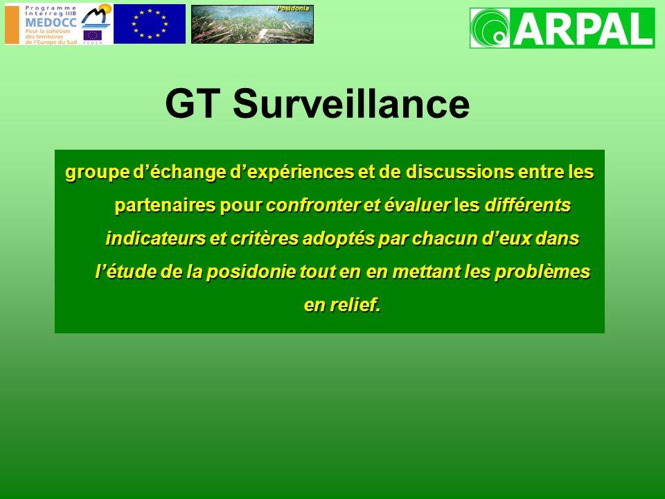 GT Surveillance groupe déchange dexpériences et de discussions entre les partenaires pour confronter et évaluer les différents indicateurs et critères adoptés par chacun deux dans létude de la posidonie tout en en mettant les problèmes en relief.