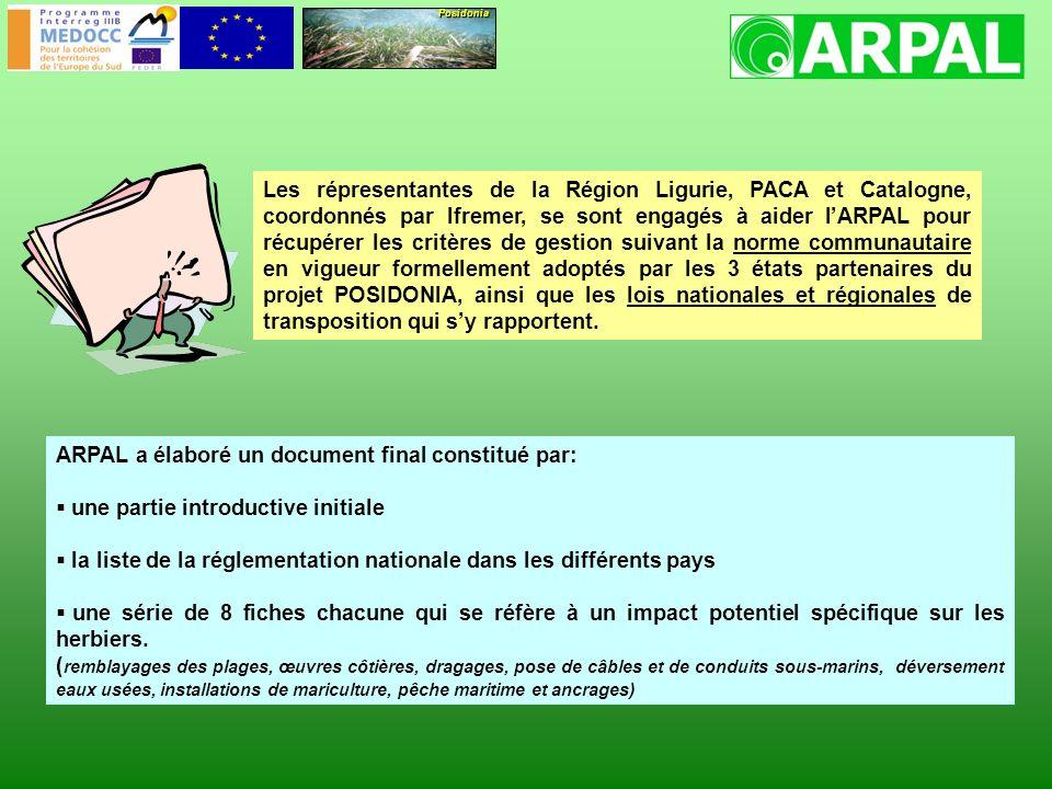 Posidonia Les répresentantes de la Région Ligurie, PACA et Catalogne, coordonnés par Ifremer, se sont engagés à aider lARPAL pour récupérer les critères de gestion suivant la norme communautaire en vigueur formellement adoptés par les 3 états partenaires du projet POSIDONIA, ainsi que les lois nationales et régionales de transposition qui sy rapportent.