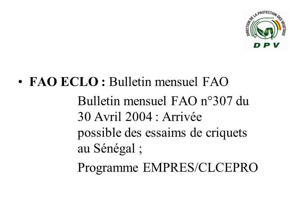 Sensibilisation / Information des différents acteurs; Message / Alerte sur le criquet pèlerin à toutes les Directions Régionaux du Développement Rural du pays