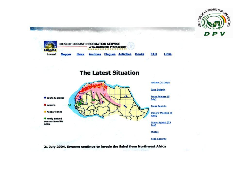 CILSS / Centre Régional AGRHYMET / Programme surveillance-alerte : Mars 2004, alerte arrivée possible des essaims de criquets au Sahel.
