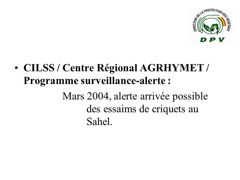 Coopération sous-régionale : Sénégal / Mauritanie : Signalisations du 6 Mai 2004 indiquant que « quelques essaims de criquets peuvent continuer à se déplacer plus au sud en direction du fleuve Sénégal, et pénétrer au nord du Sénégal, quand le FIT sera au sud du 12ème parallèle Nord ».