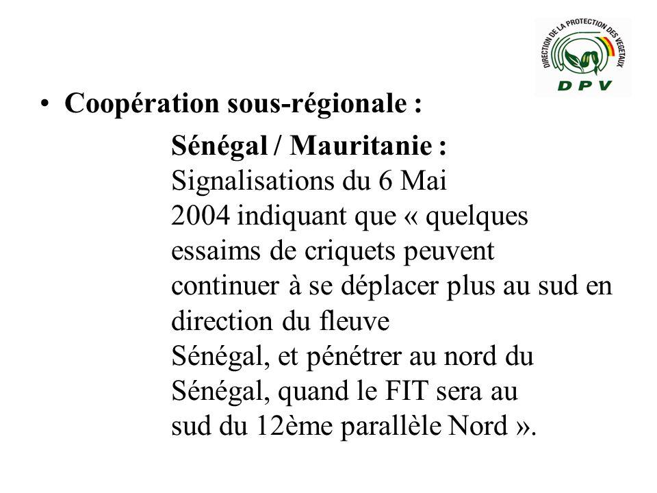 Sénégal / Algérie : Correspondance Ambassadeur du Sénégal en Algérie, indiquant que « les prévisions de juin 2004 montrent quavec les vents Alizé de NE, lanticyclone des Açores vers le sud, les vents dEst de lHarmattan (FIT), le mouvement des essaims de la reproduction printanier, pourraient se déployer à partir de la fin du mois de juin début juillet 2004 et atteindre le Sénégal ».