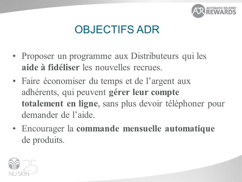 OBJECTIFS ADR Proposer un programme aux Distributeurs qui les aide à fidéliser les nouvelles recrues. Faire économiser du temps et de largent aux adhé