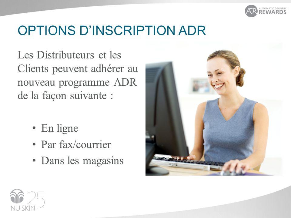 OPTIONS DINSCRIPTION ADR Les Distributeurs et les Clients peuvent adhérer au nouveau programme ADR de la façon suivante : En ligne Par fax/courrier Da