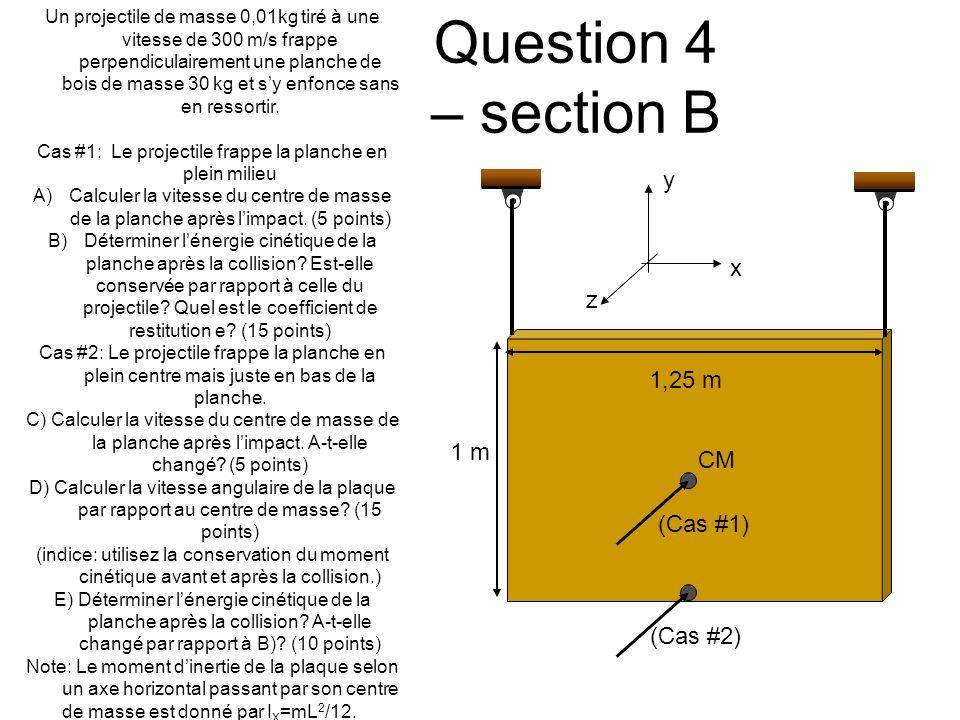 Question 4 – section B Un projectile de masse 0,01kg tiré à une vitesse de 300 m/s frappe perpendiculairement une planche de bois de masse 30 kg et sy