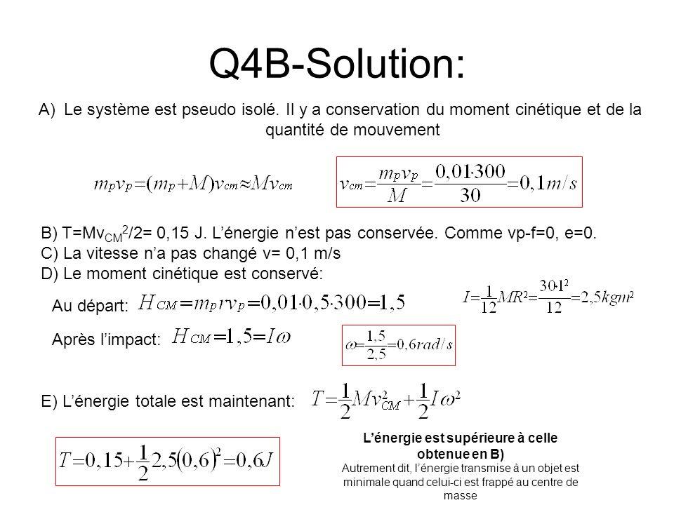 Q4B-Solution: A)Le système est pseudo isolé. Il y a conservation du moment cinétique et de la quantité de mouvement B) T=Mv CM 2 /2= 0,15 J. Lénergie