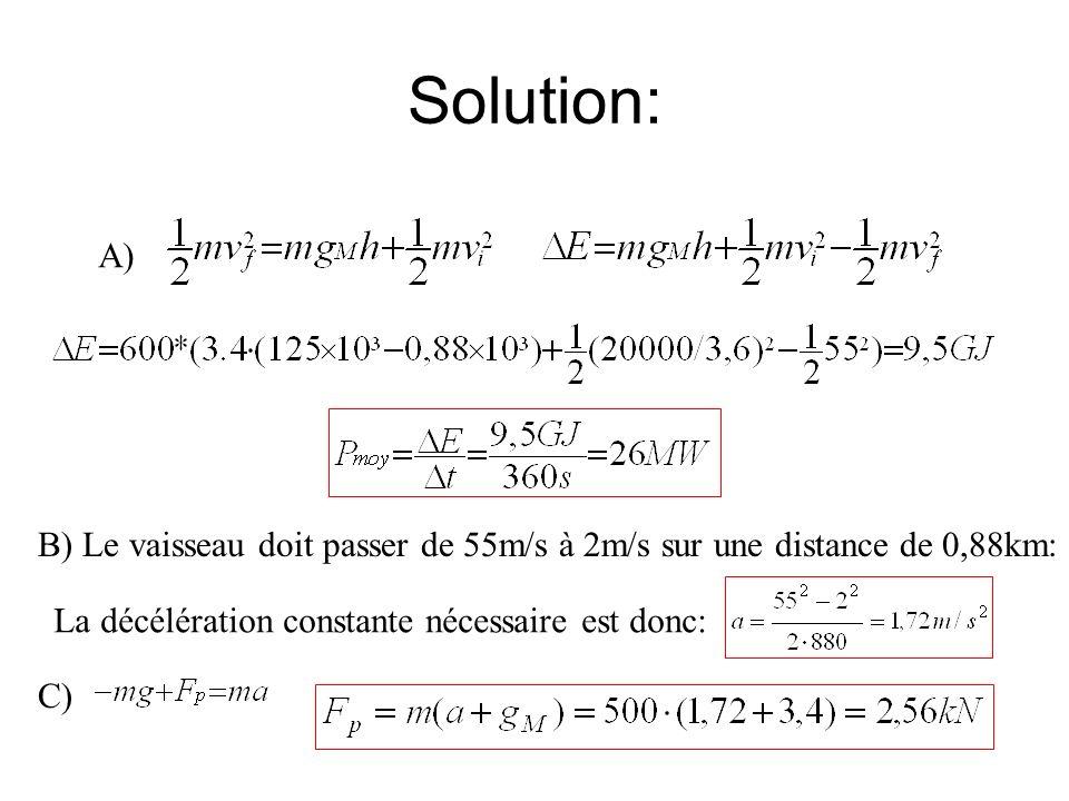 Solution: A) B) Le vaisseau doit passer de 55m/s à 2m/s sur une distance de 0,88km: La décélération constante nécessaire est donc: C)