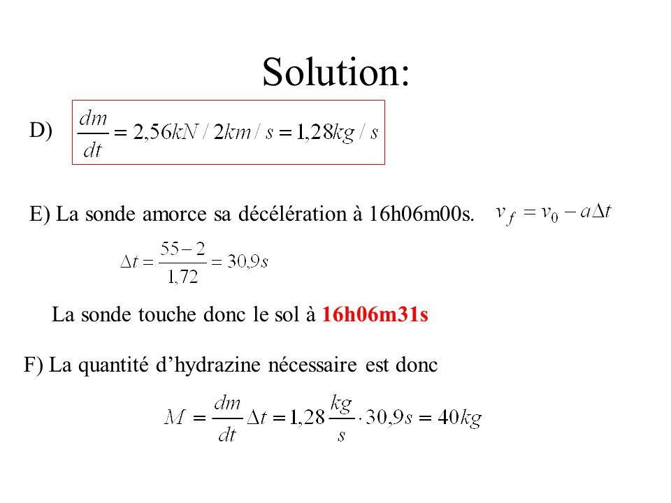 Solution: D) E) La sonde amorce sa décélération à 16h06m00s. La sonde touche donc le sol à 16h06m31s F) La quantité dhydrazine nécessaire est donc
