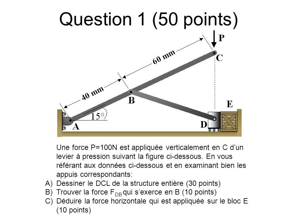 Question 1 (50 points) Une force P=100N est appliquée verticalement en C dun levier à pression suivant la figure ci-dessous. En vous référant aux donn