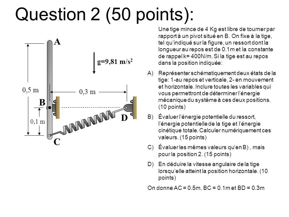Question 2 (50 points): Une tige mince de 4 Kg est libre de tourner par rapport à un pivot situé en B. On fixe à la tige, tel quindiqué sur la figure,