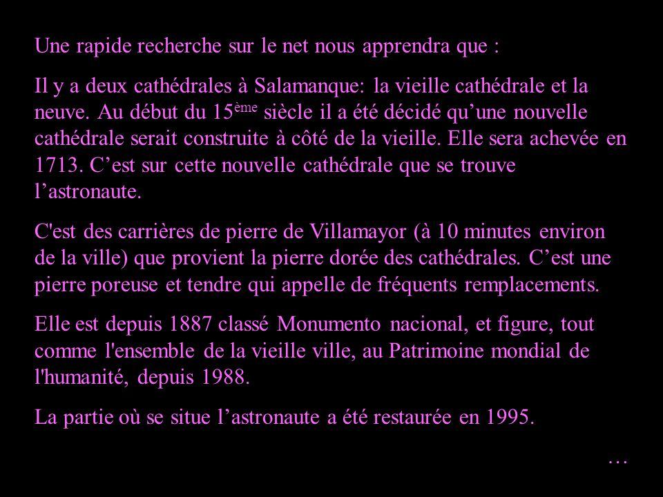 Une rapide recherche sur le net nous apprendra que : Il y a deux cathédrales à Salamanque: la vieille cathédrale et la neuve.