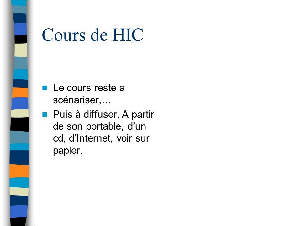 Cours de HIC Le cours reste a scénariser,… Puis à diffuser.