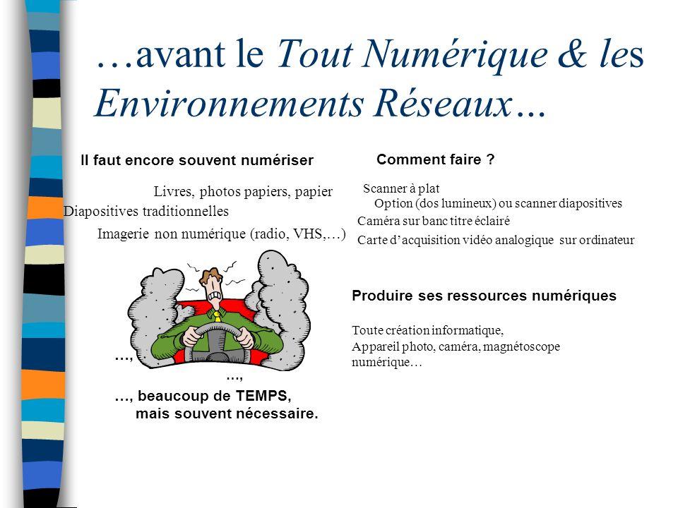 …avant le Tout Numérique & les Environnements Réseaux… Il faut encore souvent numériser …, …, beaucoup de TEMPS, mais souvent nécessaire.
