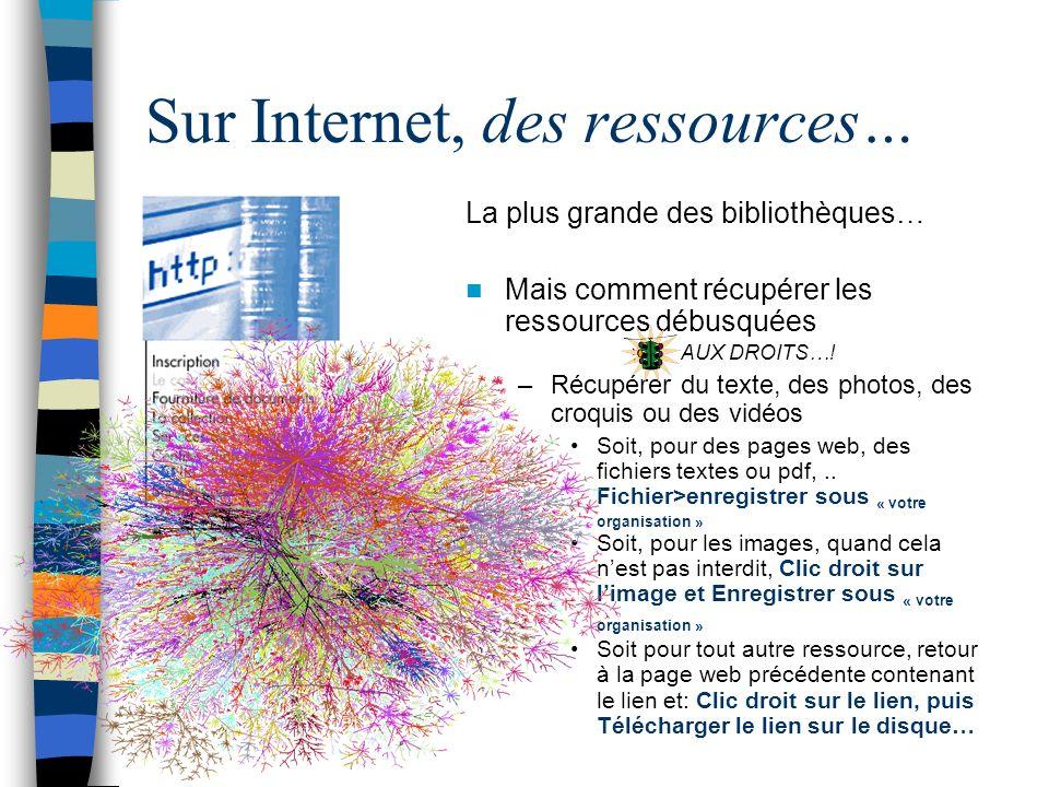 Sur Internet, des ressources… La plus grande des bibliothèques… Mais comment récupérer les ressources débusquées AUX DROITS….