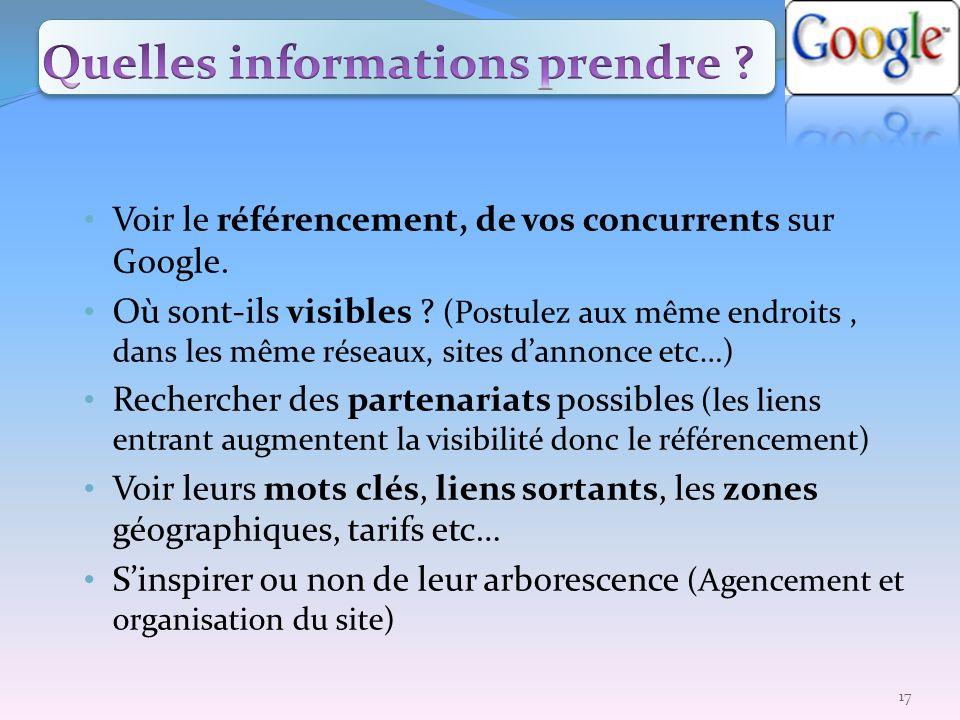 Voir le référencement, de vos concurrents sur Google. Où sont-ils visibles ? (Postulez aux même endroits, dans les même réseaux, sites dannonce etc…)
