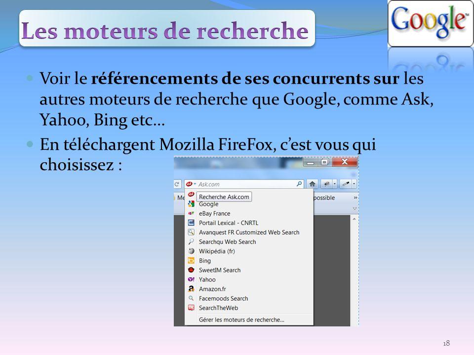 Voir le référencements de ses concurrents sur les autres moteurs de recherche que Google, comme Ask, Yahoo, Bing etc… En téléchargent Mozilla FireFox,