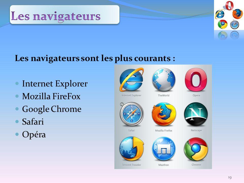 Les navigateurs sont les plus courants : Internet Explorer Mozilla FireFox Google Chrome Safari Opéra 19