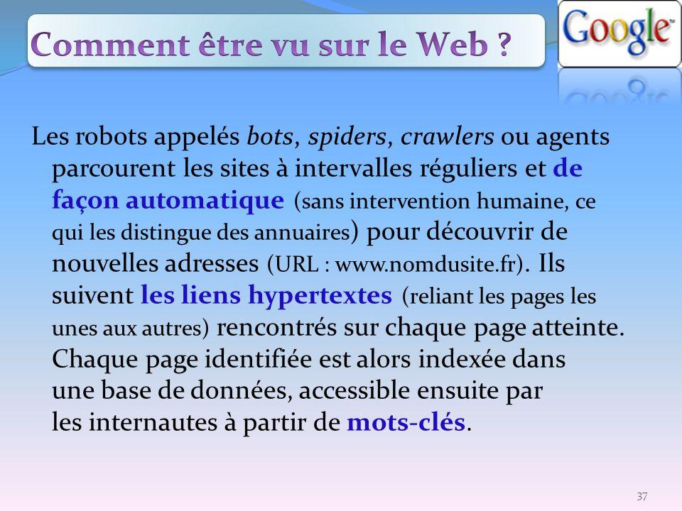 Les robots appelés bots, spiders, crawlers ou agents parcourent les sites à intervalles réguliers et de façon automatique (sans intervention humaine,