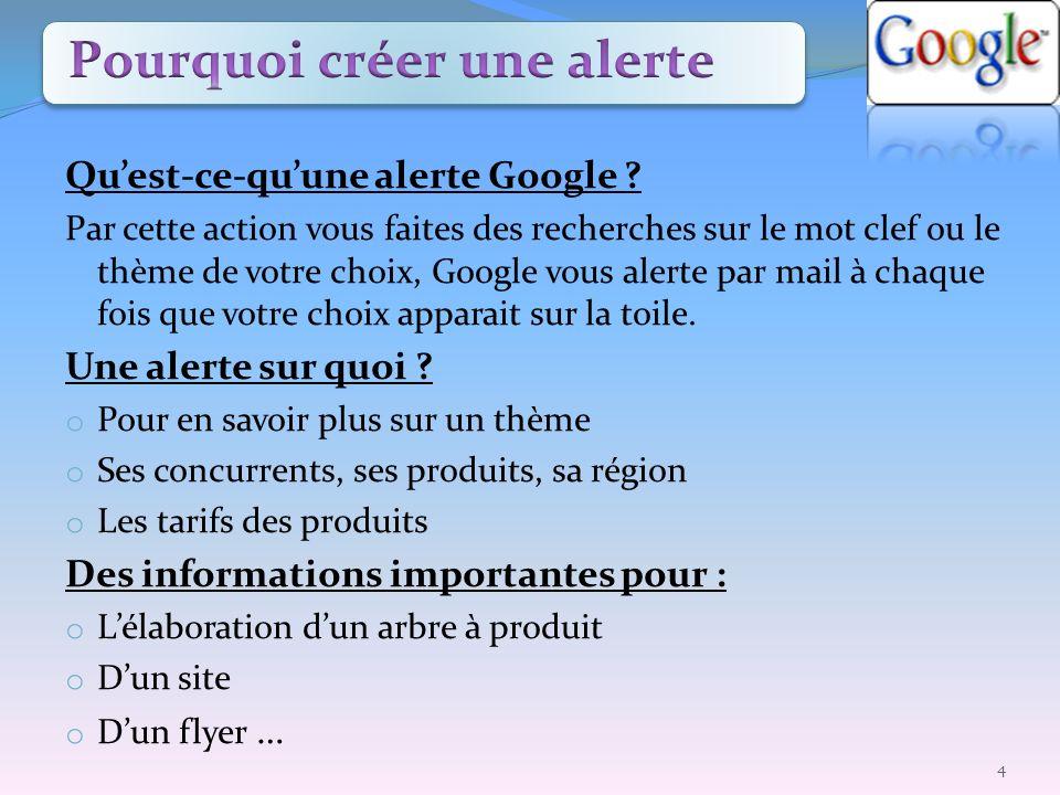 Quest-ce-quune alerte Google ? Par cette action vous faites des recherches sur le mot clef ou le thème de votre choix, Google vous alerte par mail à c