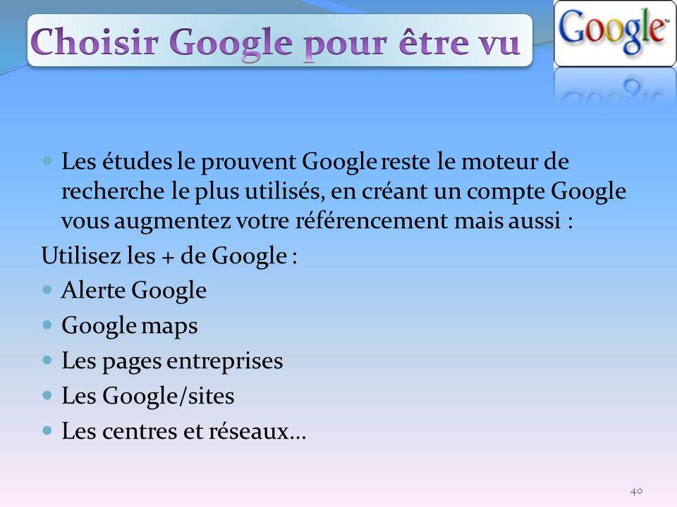 Les études le prouvent Google reste le moteur de recherche le plus utilisés, en créant un compte Google vous augmentez votre référencement mais aussi