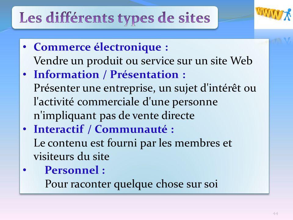 Commerce électronique : Vendre un produit ou service sur un site Web Information / Présentation : Présenter une entreprise, un sujet d'intérêt ou l'ac