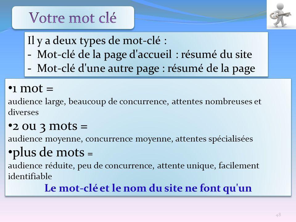 Il y a deux types de mot-clé : - Mot-clé de la page d'accueil : résumé du site - Mot-clé d'une autre page : résumé de la page Il y a deux types de mot