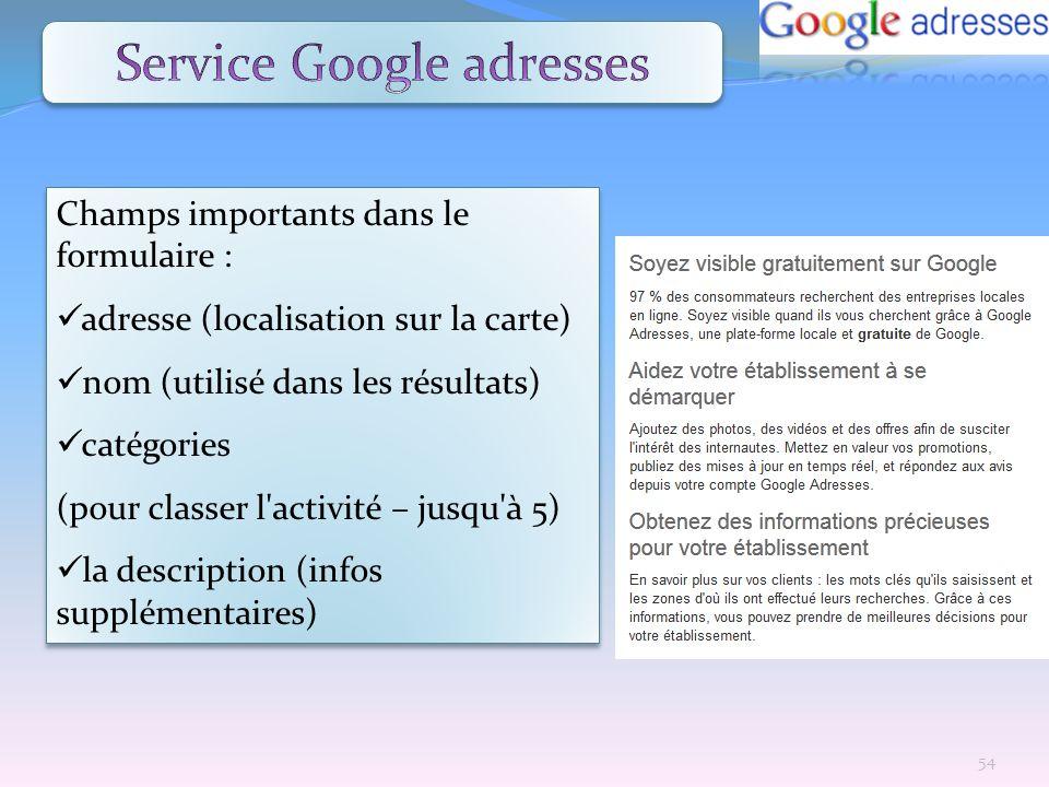 Champs importants dans le formulaire : adresse (localisation sur la carte) nom (utilisé dans les résultats) catégories (pour classer l'activité – jusq