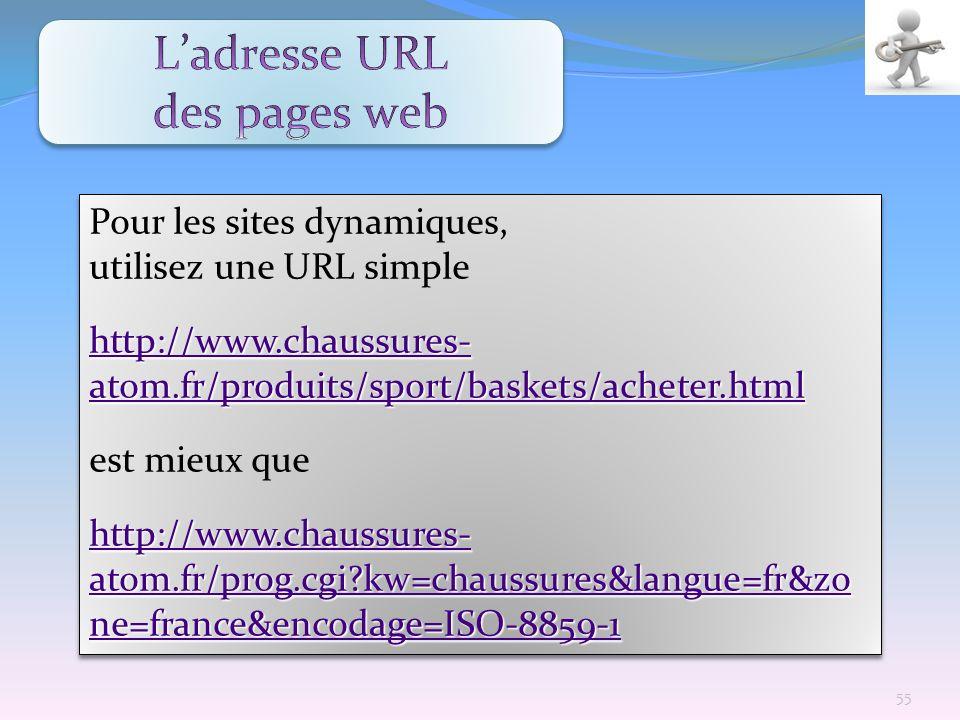Pour les sites dynamiques, utilisez une URL simple http://www.chaussures- atom.fr/produits/sport/baskets/acheter.html http://www.chaussures- atom.fr/p