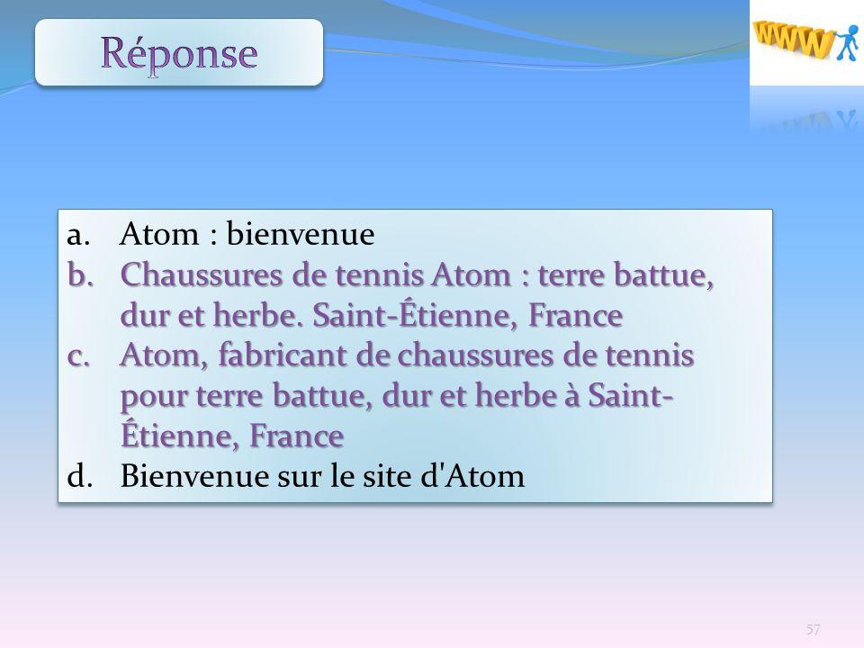 a. Atom : bienvenue b. Chaussuresde tennis Atom : terre battue, dur et herbe. Saint-Étienne, France b. Chaussures de tennis Atom : terre battue, dur e