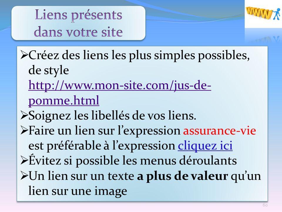 Créez des liens les plus simples possibles, de style http://www.mon-site.com/jus-de- pomme.html http://www.mon-site.com/jus-de- pomme.html Soignez les