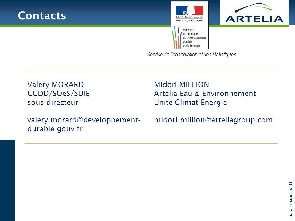 31/03/2014 ARTELIA 11 Contacts Valéry MORARD CGDD/SOeS/SDIE sous-directeur valery.morard@developpement- durable.gouv.fr Midori MILLION Artelia Eau & E