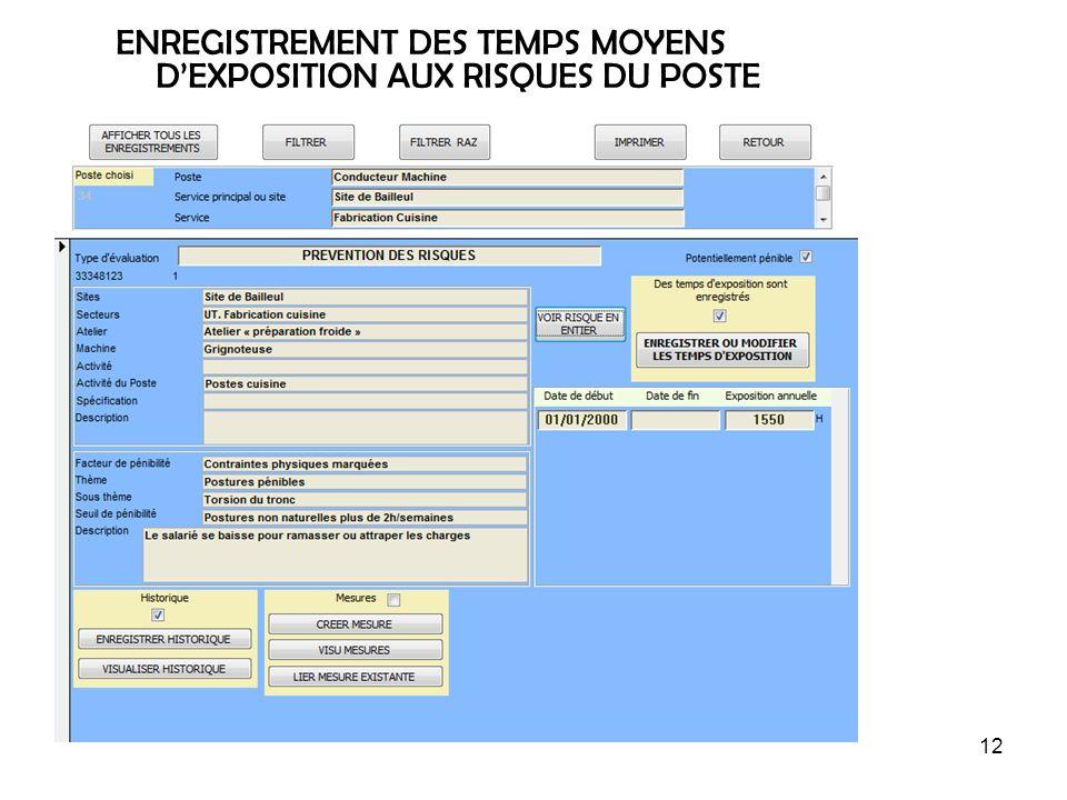 12 ENREGISTREMENT DES TEMPS MOYENS DEXPOSITION AUX RISQUES DU POSTE