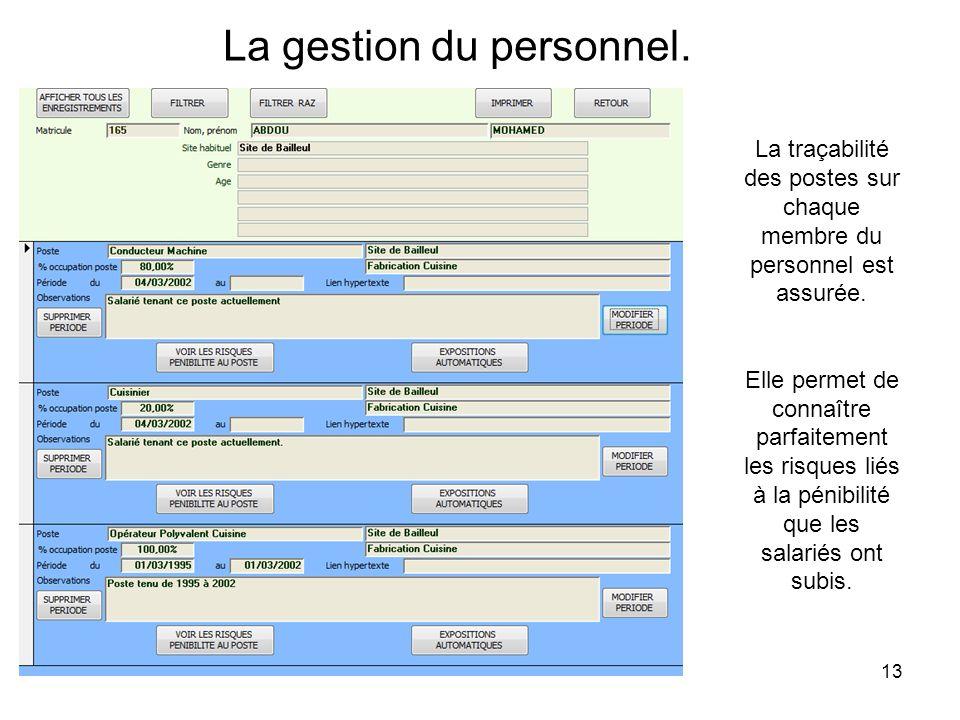 13 La gestion du personnel. La traçabilité des postes sur chaque membre du personnel est assurée. Elle permet de connaître parfaitement les risques li