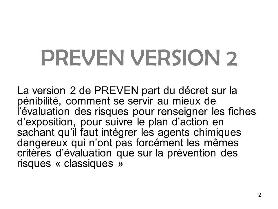 2 PREVEN VERSION 2 La version 2 de PREVEN part du décret sur la pénibilité, comment se servir au mieux de lévaluation des risques pour renseigner les