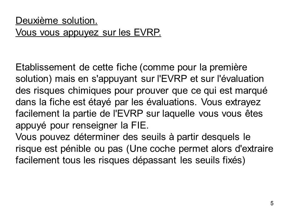 5 Deuxième solution. Vous vous appuyez sur les EVRP. Etablissement de cette fiche (comme pour la première solution) mais en s'appuyant sur l'EVRP et s