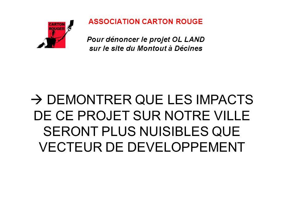ASSOCIATION CARTON ROUGE Pour dénoncer le projet OL LAND sur le site du Montout à Décines DEMONTRER QUE LES IMPACTS DE CE PROJET SUR NOTRE VILLE SERON
