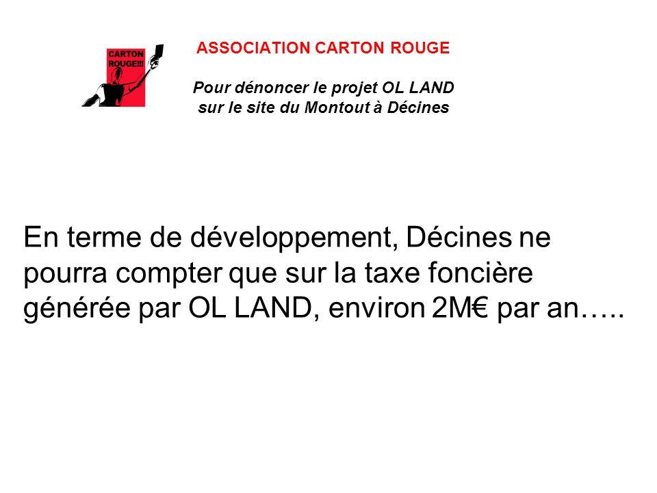 ASSOCIATION CARTON ROUGE Pour dénoncer le projet OL LAND sur le site du Montout à Décines En terme de développement, Décines ne pourra compter que sur