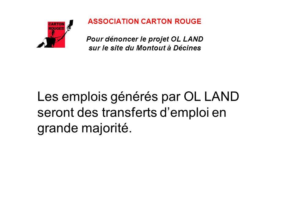 ASSOCIATION CARTON ROUGE Pour dénoncer le projet OL LAND sur le site du Montout à Décines Les emplois générés par OL LAND seront des transferts demploi en grande majorité.