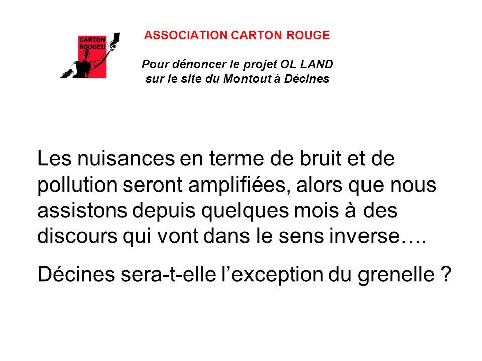 ASSOCIATION CARTON ROUGE Pour dénoncer le projet OL LAND sur le site du Montout à Décines Les nuisances en terme de bruit et de pollution seront amplifiées, alors que nous assistons depuis quelques mois à des discours qui vont dans le sens inverse….