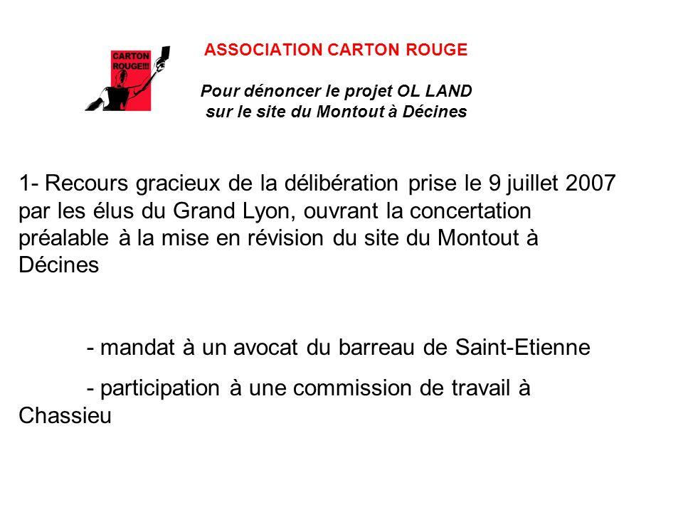 ASSOCIATION CARTON ROUGE Pour dénoncer le projet OL LAND sur le site du Montout à Décines 1- Recours gracieux de la délibération prise le 9 juillet 20