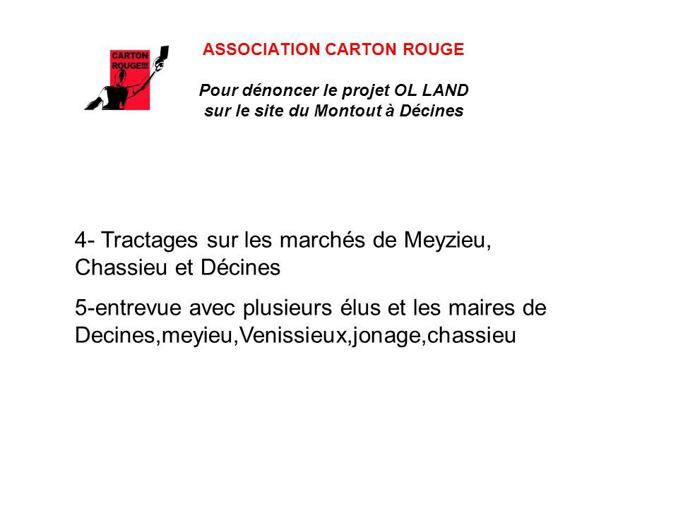 ASSOCIATION CARTON ROUGE Pour dénoncer le projet OL LAND sur le site du Montout à Décines 4- Tractages sur les marchés de Meyzieu, Chassieu et Décines