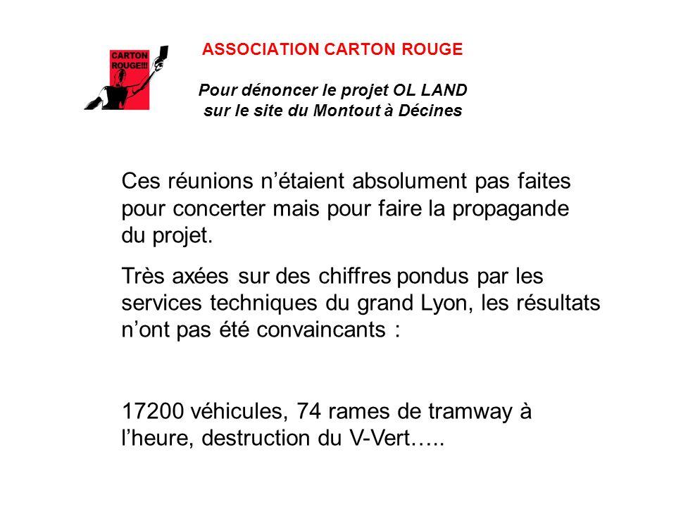 ASSOCIATION CARTON ROUGE Pour dénoncer le projet OL LAND sur le site du Montout à Décines QUELLE EST LA SITUATION AUJOURDHUI ?