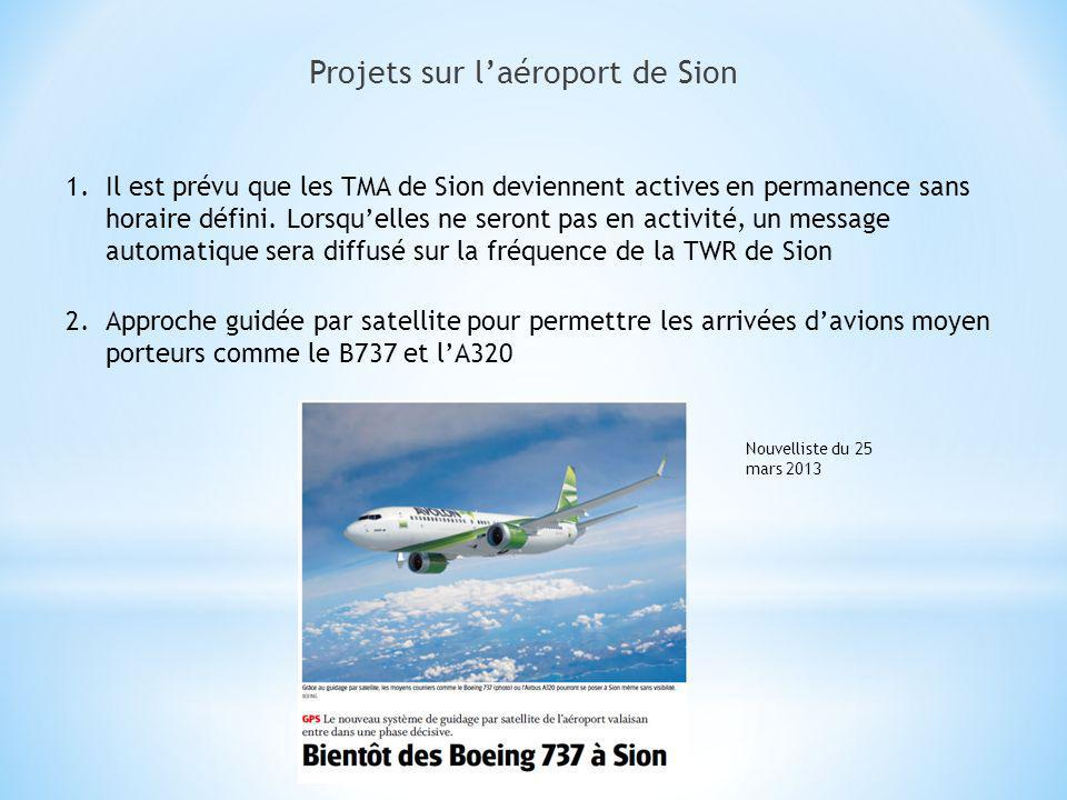 Projets sur laéroport de Sion 1.Il est prévu que les TMA de Sion deviennent actives en permanence sans horaire défini. Lorsquelles ne seront pas en ac