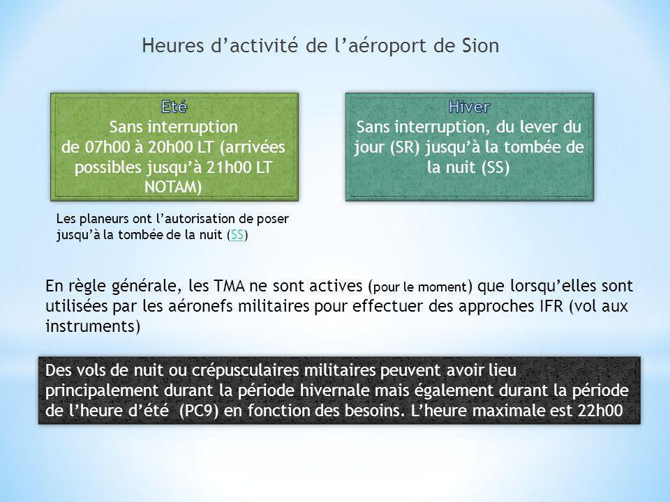 Heures dactivité de laéroport de Sion Des vols de nuit ou crépusculaires militaires peuvent avoir lieu principalement durant la période hivernale mais