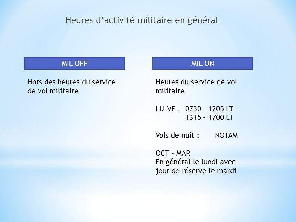Heures dactivité militaire en général MIL OFF Hors des heures du service de vol militaire MIL ON Heures du service de vol militaire LU-VE :0730 – 1205