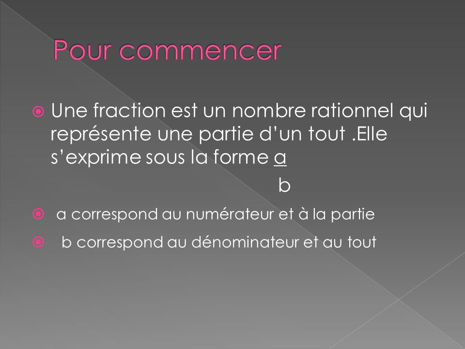 Une fraction est un nombre rationnel qui représente une partie dun tout.Elle sexprime sous la forme a b a correspond au numérateur et à la partie b correspond au dénominateur et au tout