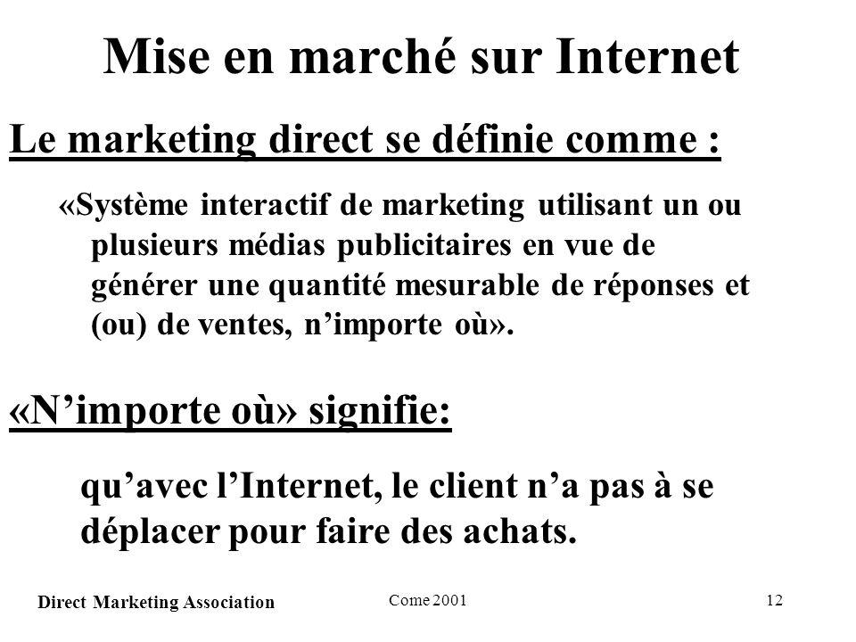 Come 200112 Mise en marché sur Internet «Système interactif de marketing utilisant un ou plusieurs médias publicitaires en vue de générer une quantité mesurable de réponses et (ou) de ventes, nimporte où».