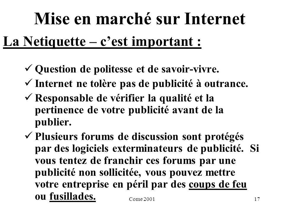 Come 200117 Mise en marché sur Internet Question de politesse et de savoir-vivre.